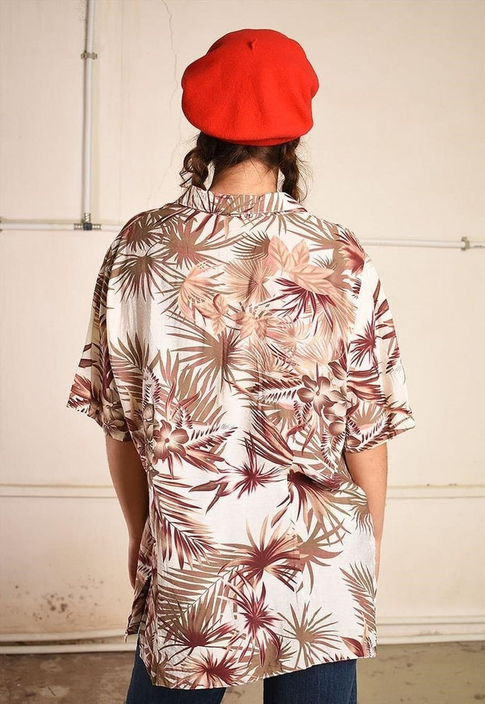 90's retro Hawaii print oversized Dads shirt top