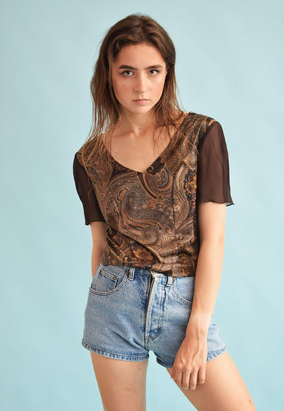 90's retro paisley print Kitsch party top