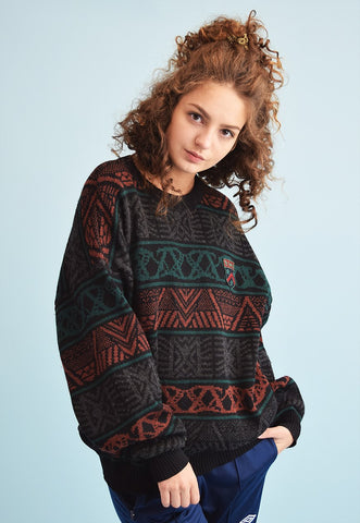 90's retro abstract pattern knit heritage oversized jumper
