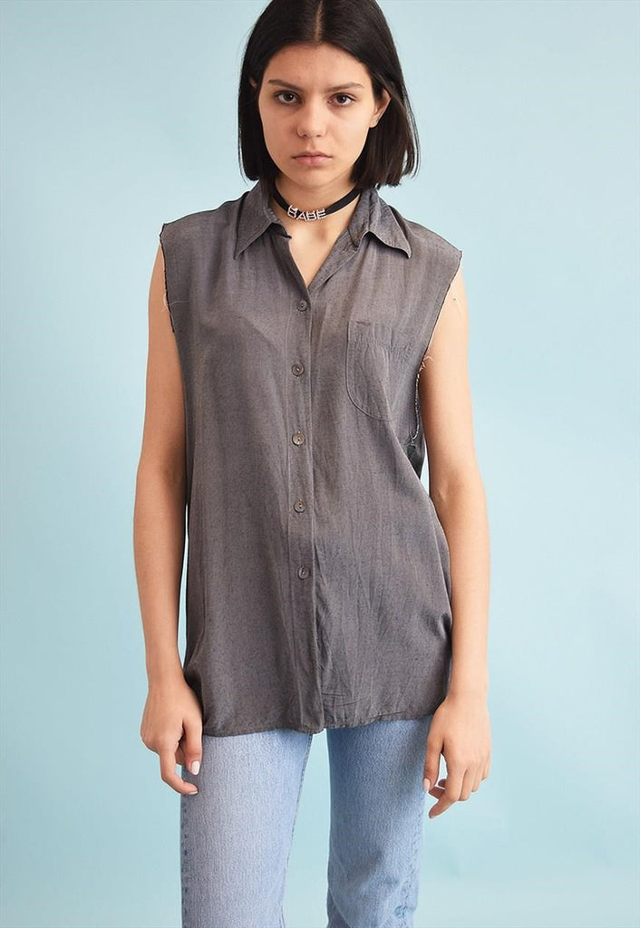 90's retro grunge distressed oversized shirt blouse top