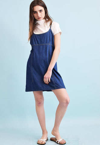 90's retro pinafore denim oversized mini Mom's dress