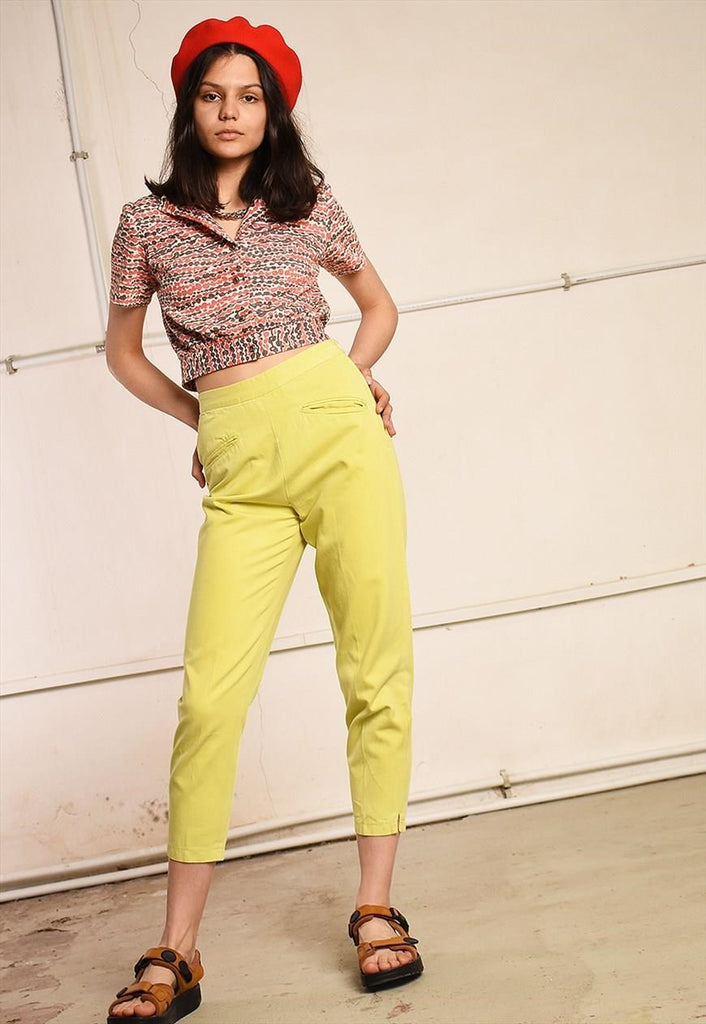 80's retro paris chic denim-like short cut trousers