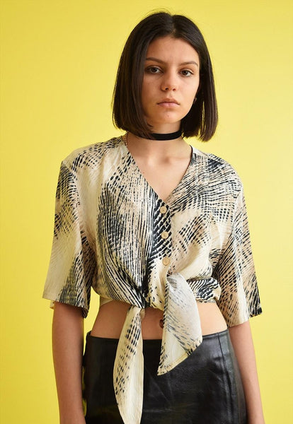 Vintage 90's retro abstract pattern tied up shirt top