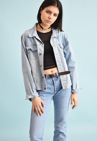 90's retro denim oversized teen jacket top