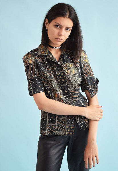 70's retro abstract print festival shirt blouse top