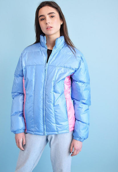Vintage 90's retro sports shimmer puffer padded jacket