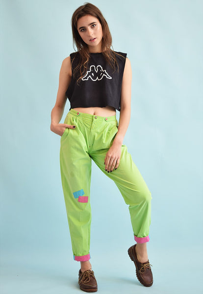 80's retro high waist athleisure trousers bottoms