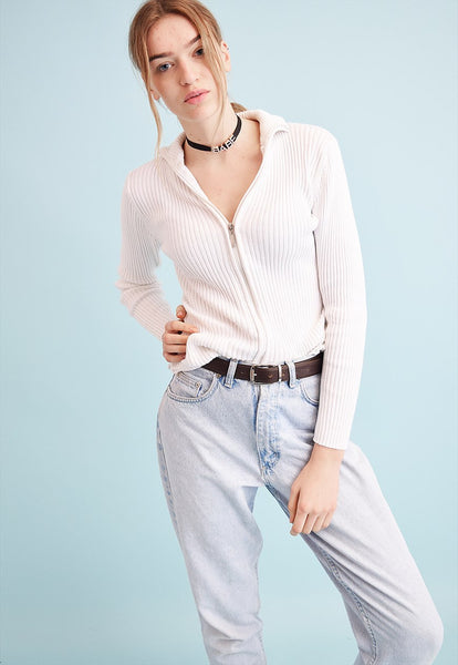 90's retro neutral ribbed knit teen cardigan top