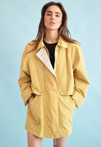 90's retro featival mustard yellow oversized parka jacket