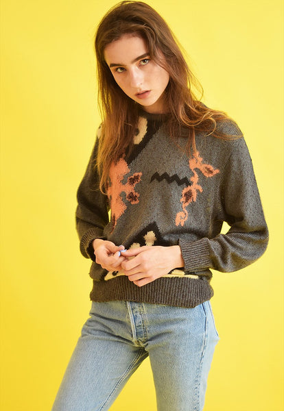80's retro abstract print oversized knit jumper top