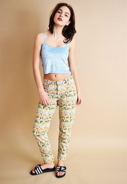 90's retro bleached floral pattern thin jeans