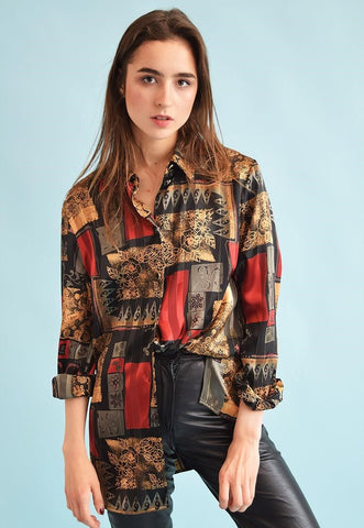 90's retro abstract print oversized festival shirt top