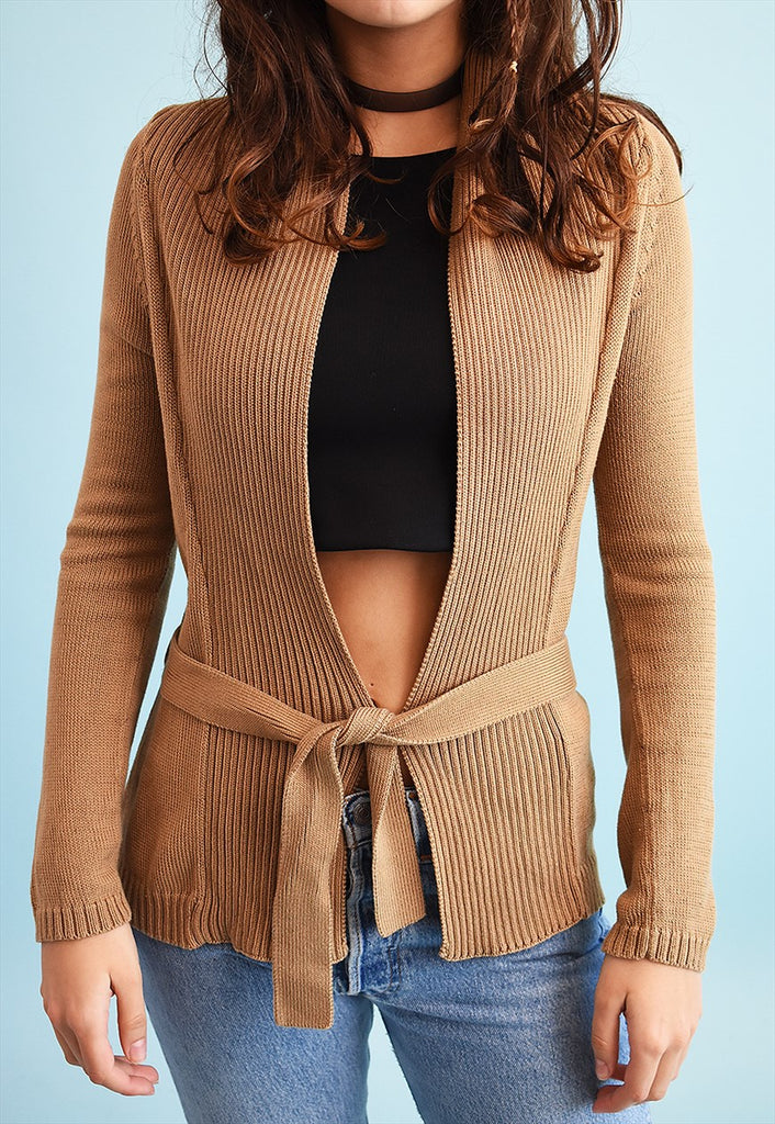90's retro neutral knit tie up cardigan