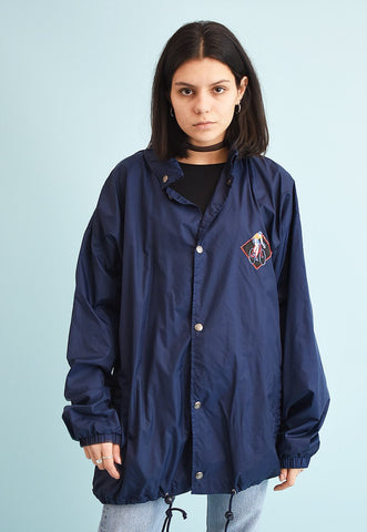 90's retro athleisure sports shell navy blue parka jacket