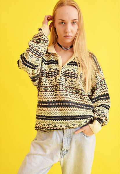 90's retro Fair Isle oversized Dads knit jumper top