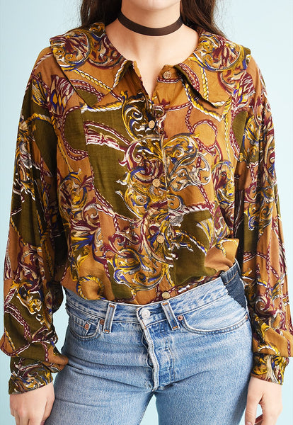 80's retro abstract print loose-fitted Moms blouse top