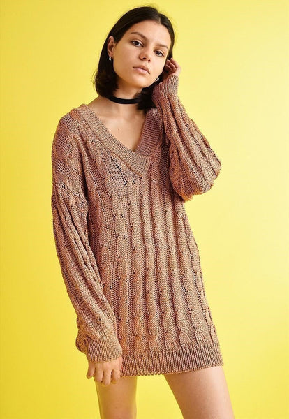 90's retro minimalist shimmer knitted jumper top dress