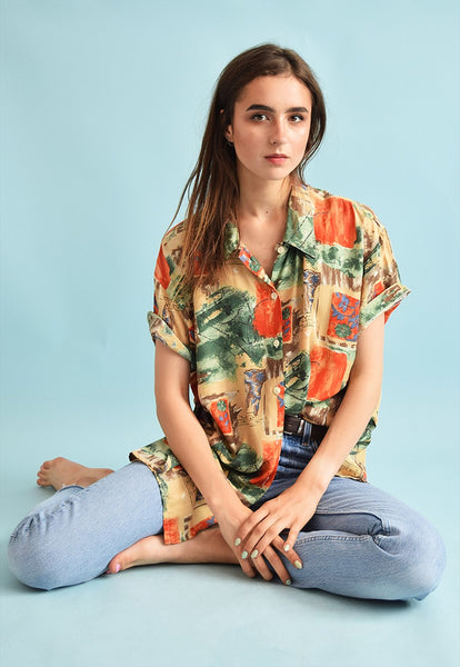 90's retro festival abstract print oversized Dads blouse top