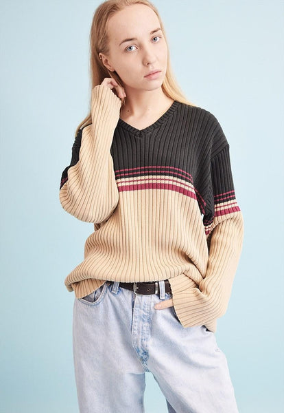 90's retro striped knit oversized Dads jumper top