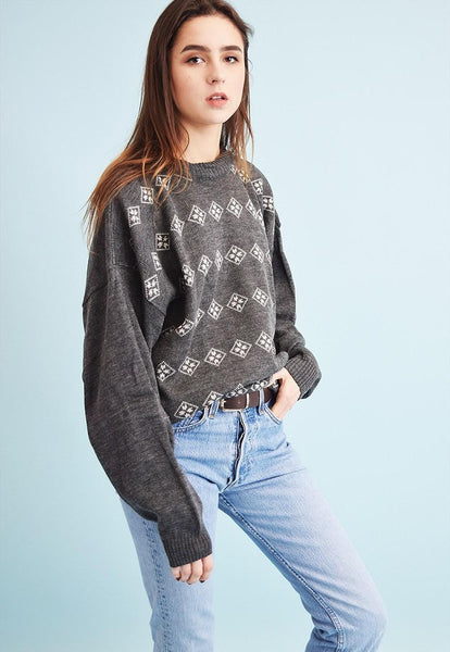 90's retro abstract pattern knit oversized Dads jumper top