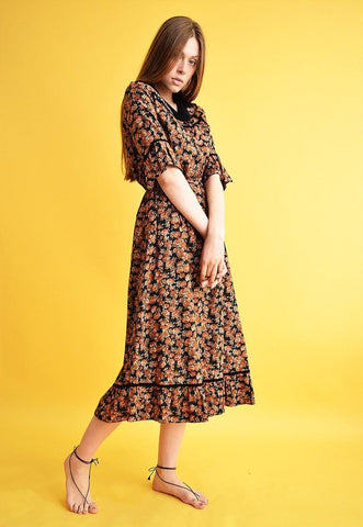 Vintage 70's retro floral pattern velvet midi elegant dress