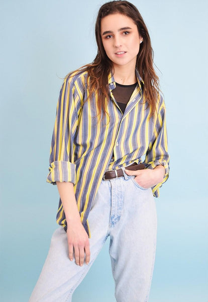 80's retro striped Boyfriend shirt top blouse