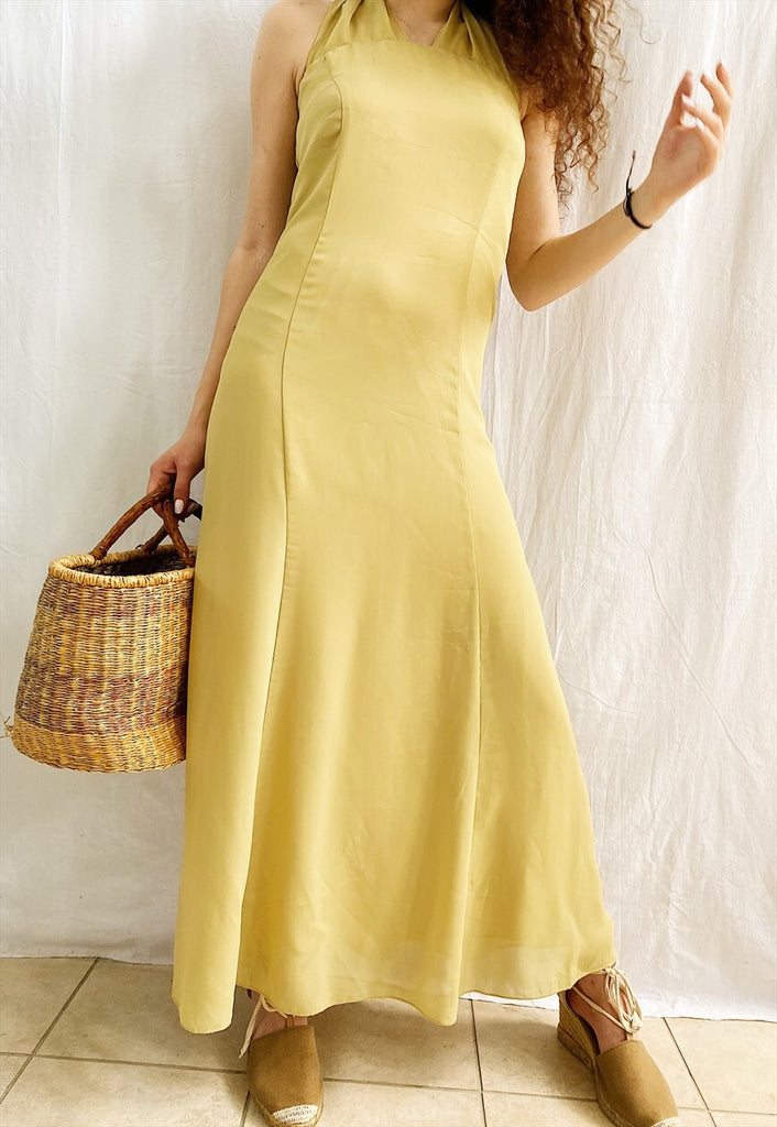Vintage 90s Pastel Citron Prom halter maxi evening dress