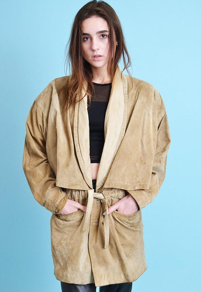 Vintage 70's retro genuine suede oversized jacket coat