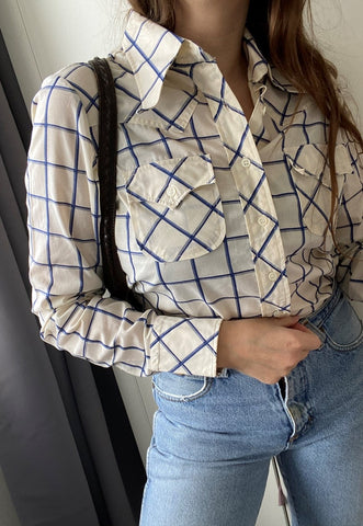 Vintage 60s Checked Mod Western Boho blouse shirt  top