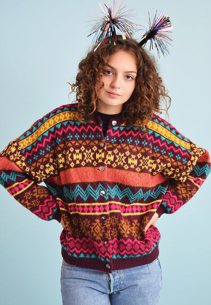 80's retro Fair Isle knit slouchy Christmas cardi