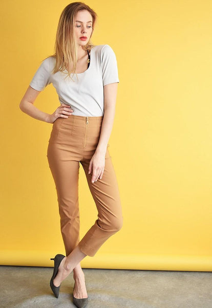 90's retro light brown classy stretch trousers