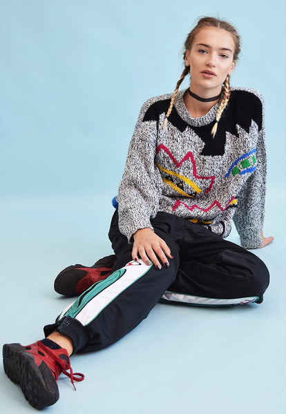 80's retro abstract pattern knit oversized jumper