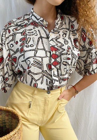 Vintage 80s Abstract Ethnic print Boheme blouse top
