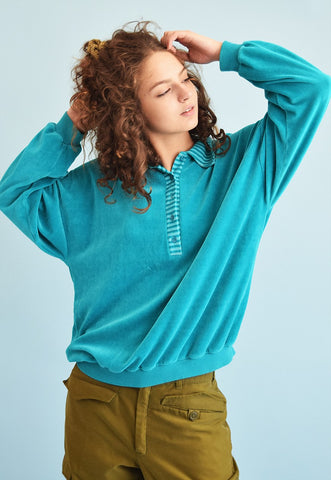 80's retro athleisure sports velvet sweatshirt jumper