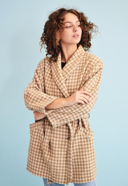 70's retro neutral trench checked oversized trench coat