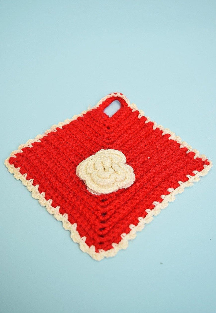 Vintage 70's handknitted festive hot pad / cup coaster