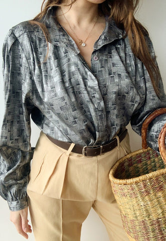 Vintage 80s Luxe Parisian Silver Abstract top shirt blouse