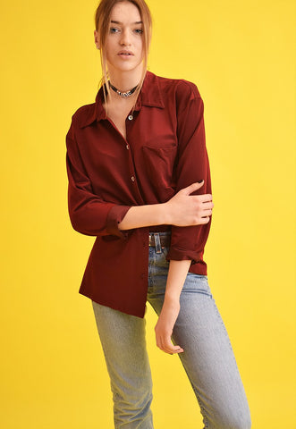 90's retro grunge maroon oversized Moms shirt top