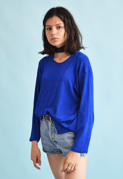 90's retro minimalist loose-fitted lycra blouse top