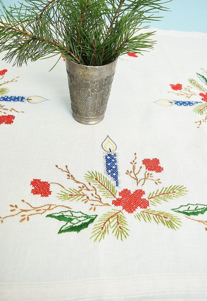 Vintage 70's Christmas canvas hand embroidered tablecloth