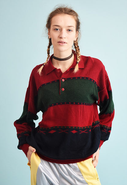 90's retro striped maroon oversized Dads knit jumper