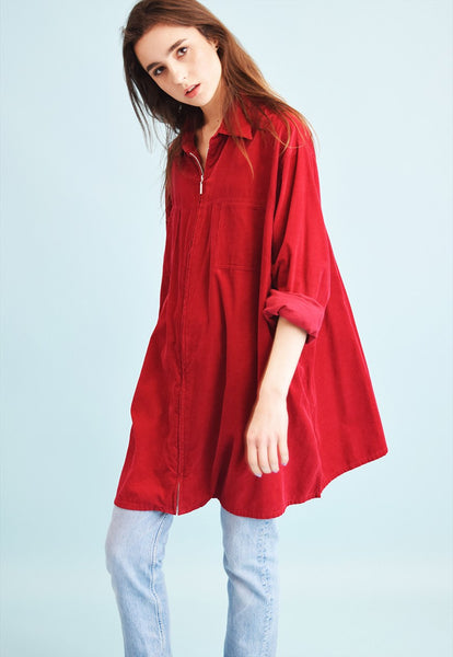 90's retro grunge corduroy oversized shirt dress