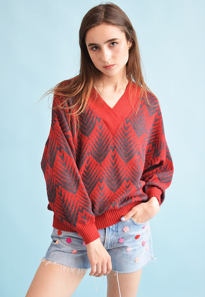 80's retro abstract pattern knit oversized Grandads jumper