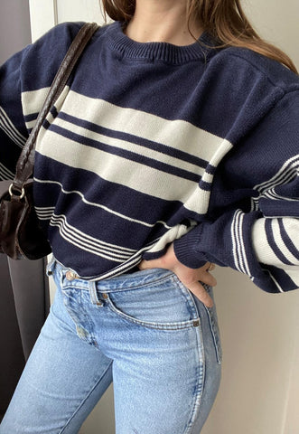 Vintage 80s Nautical striped knit unisex jumper sweatshirt