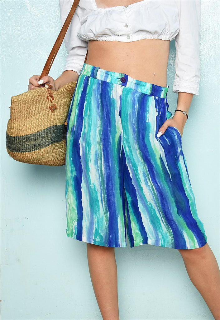 Vintage 80s striped Boho abstract festival chic shorts blue