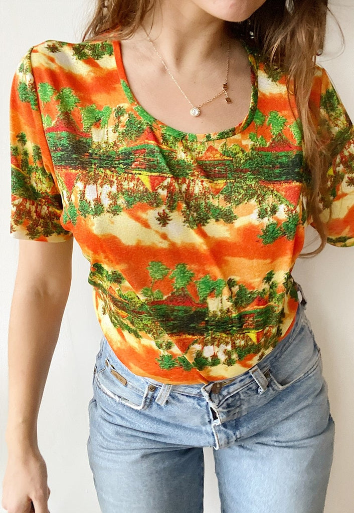 Vintage Y2K Island Life sheer t-shirt top blouse Tropical