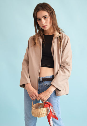 Vintage 90's retro athleisure festival neutral jacket top