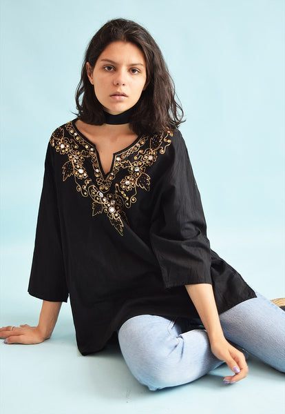 90's retro Boho ethnic embroidery sequined blouse top
