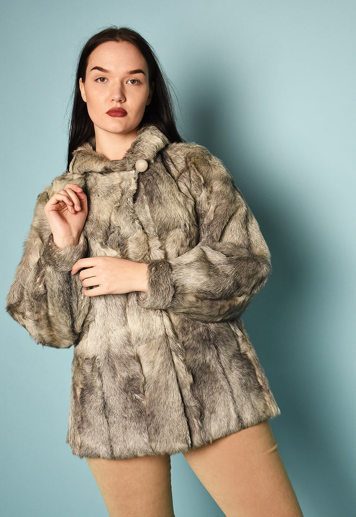 Vintage 50's retro real fur grey jacket