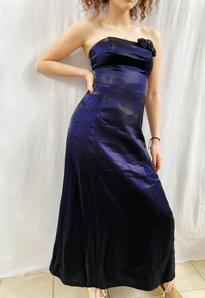 Vintage Y2K Satin Navy blue bandeau evening prom maxi dress